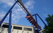 photos of Afterburn roller coaster in Carowinds theme park