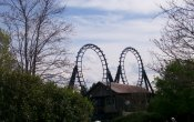 photos of Carolina Cyclone roller coaster in Carowinds theme park