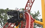 photos of Dare Devil Dive roller coaster in Six Flags Over Georgia theme park