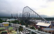 photos of Fujiyama roller coaster in Fuji-Q Highland theme park