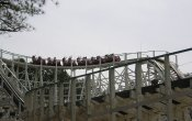 photos of Georgia Cyclone roller coaster in Six Flags Over Georgia theme park