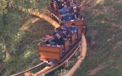 photos of Gold Rusher roller coaster in Six Flags Magic Mountain theme park