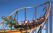 photos of Ragin Bull roller coaster in Six Flags Great America theme park