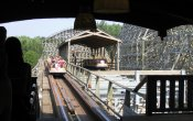 photos of Robin Hood roller coaster in Walibi Holland theme park