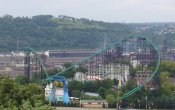photos of Phantom's Revenge roller coaster in Kennywood theme park