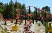 photos of Road Runner Express roller coaster in Six Flags Magic Mountain theme park
