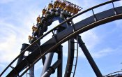 photos of Batman The Ride roller coaster in Six Flags Over Georgia theme park