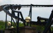 fotos de la montaña rusa Batman The Ride en el parque temático Six Flags St. Louis