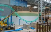 photos of SpongeBob SquarePants Rock Bottom Plunge roller coaster in Nickelodeon Universe  theme park