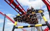 photos of X-Flight roller coaster in Six Flags Great America theme park